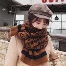 圍巾 豹紋圍巾女冬季百搭兩用韓版學生針織加厚圍脖東大門 nm13669【Pink 中大尺碼】