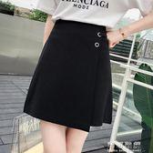 夏季 韓版時尚百搭高腰顯瘦環扣裝飾不規則半身裙短裙女 可可鞋櫃