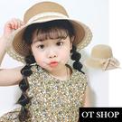 [現貨]兒童帽子 紙草編織帽 遮陽帽 海灘帽 防曬 可愛緞帶蕾絲蝴蝶結 防風繩 C5041 OT SHOP