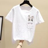 夏季新款白色T恤女韓版寬鬆竹節純棉短袖女ins潮洋氣刺繡上衣體恤 店慶降價