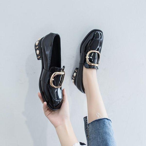 歡慶中華隊復古英倫風小皮鞋女秋季新款樂福鞋珍珠鉚釘韓版百搭粗跟單鞋