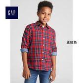 Gap男童 純棉休閒格紋可卷袖襯衫 370517-正紅色