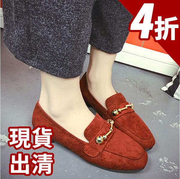 低跟鞋-17年新款韓版氣質款麂皮金屬扣搭飾淺口低跟圓頭平底鞋 娃娃鞋 懶人鞋 【AN SHOP】