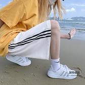 運動短褲女夏直筒寬鬆外穿高街港味五分褲闊腿顯瘦沙灘中褲【聚物優品】