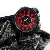 Tendence 天勢表 / TY531001 / 立體刻度 酷炫LED 礦石強化玻璃 防水100米 矽膠手錶 黑色 51mm
