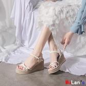伊人閣 楔形涼鞋 坡跟涼鞋 一字帶 羅馬鞋 厚底 女鞋