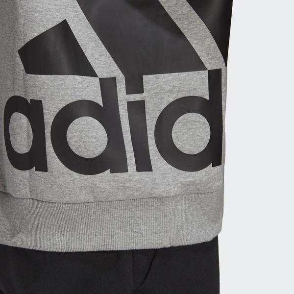 Adidas BIG BADGE 男裝 長袖 帽T 拉繩 袋鼠口袋 棉質 側邊大LOGO 灰【運動世界】GC7287