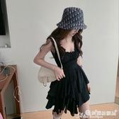 百摺連身裙 方領黑色吊帶連身裙女夏季收腰百摺短裙2020新款修身顯瘦氣質裙子 愛麗絲