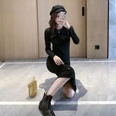 秋季2019新款閃亮黑色針織連身裙修身中長款后開叉長袖打底裙女冬