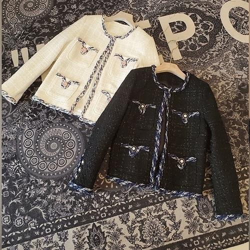 毛呢外套-短版小香風粗花呢織帶花邊女大衣2色73zg41【巴黎精品】