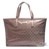 【GUCCI 古馳】211120 Imprime GG壓紋肩背購物包(藕紫色)