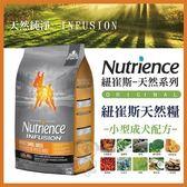*WANG*美國Nutrience紐崔斯《INFUSION天然小型成犬飼料-雞肉》2.27公斤