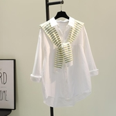 條紋披肩白色棉麻襯衫女春秋新韓文藝寬鬆休閒襯衣可外穿上衣 錢夫人
