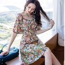 18060-QF #碎花 #韓系 #五分袖 #方領 #洋裝 #中大碼 #中尺碼 #小尺碼 #顯瘦
