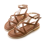 amai《12星座 - Gemini雙子座》希臘風交叉立體繞帶夾腳涼鞋 棕