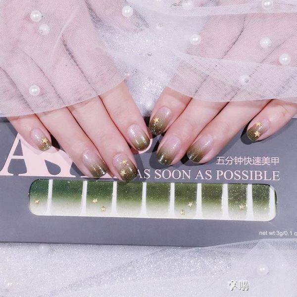 陷阱ASAP指甲貼紙韓國防水3D美甲貼紙全貼鉆飾指甲油貼美甲成品 享購