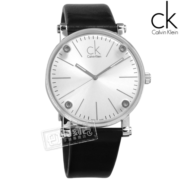 CK / K3B2T1C6 / Cogent 特殊魔幻透視瑞士機芯防水皮革手錶 銀x黑 42mm