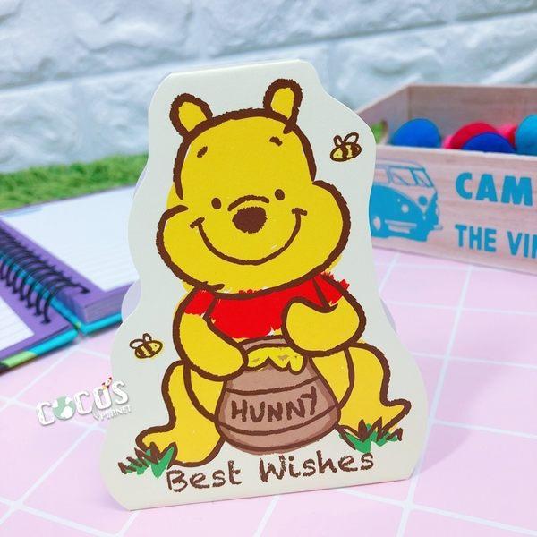 正版授權 迪士尼站立卡片 小熊維尼 維尼熊 維尼 小卡片 萬用卡片 卡片 COCOS DA030