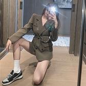毛呢外套 網紅炸街黑色西裝外套女2020秋冬新款時尚氣質中長款小西服ins潮 風馳