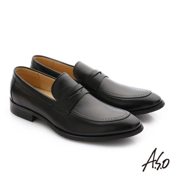 A.S.O 職人通勤 牛皮經典圓楦直套紳士皮鞋 黑