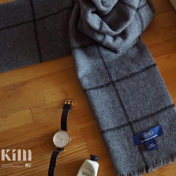 可傑 KIM Taiwan 知性.灰格紋『GOBI 100% 喀什米爾圍巾』 原價3500 限時85折 $2975