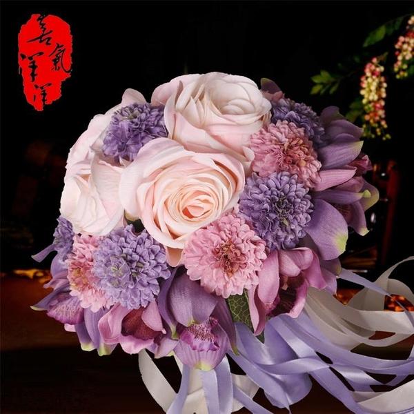 婚慶新娘手捧花仿真玫瑰結婚手拋花球