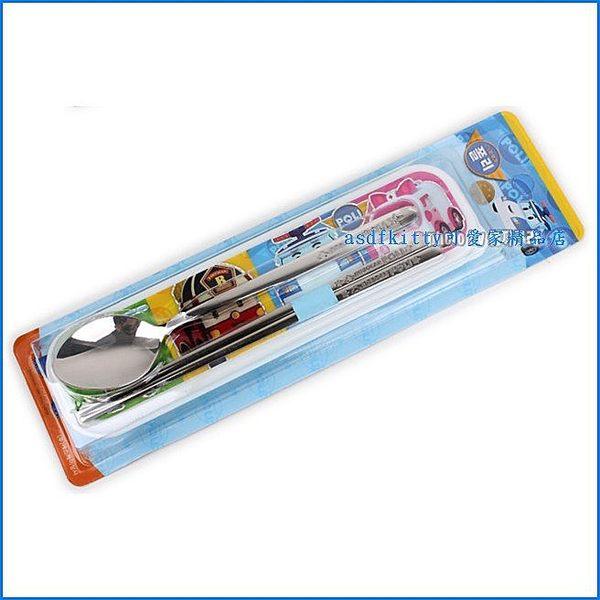 廚房【asdfkitty】POLI救援小英雄波力多人版餐具組-不鏽鋼湯匙筷子附餐具盒-韓國製