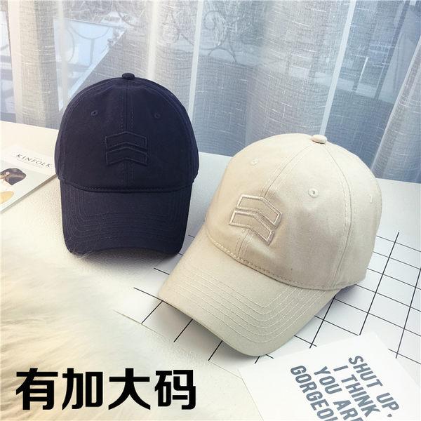 棒球帽時尚簡約刺繡標加大尺碼大頭圍彎檐棒球帽子男女士鴨舌帽春夏遮陽帽