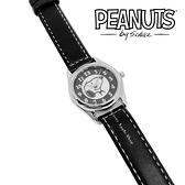 【SAS】日本限定 史努比 SNOOPY 大臉版 皮革腕錶 / 手錶 ( 黑色 )