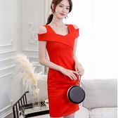 中大尺碼新款韓版修身性感露肩顯瘦綁帶縮腰洋裝女中長款一字領打底裙 js5530『miss洛羽』