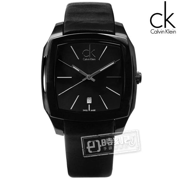 CK / K2K21402 / Recess尊爵休閒方形日期皮革手錶 黑色 40mm