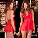 情趣內睡衣 露背 深V 細肩帶 連身裙 Gaoria 愛的寶貝 性感網紗睡裙 紅色