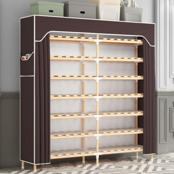 鞋架 鞋架簡易實木板式多層組裝防塵宿舍鞋柜雙排特價經濟型家用省空間