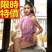 無袖皮草馬甲-狐狸毛鏈條蕾絲時尚女皮草背心3色65m34【巴黎精品】