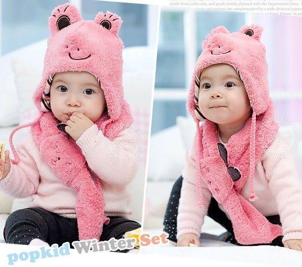 *甜蜜蜜親子童裝*可愛((青蛙小兔款))保暖帽+圍巾二件組