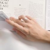 創意925純銀戒指女 日韓個性文藝小清新櫻花開口可調尾戒食指指環 滿天星