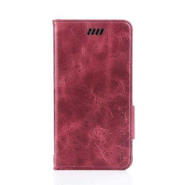 X-SHELL IPHONE 6 plus/6s plus 防電磁波真皮手機皮套 (仿古蠟皮 酒紅色)