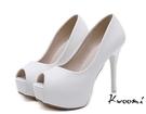 魚口高跟鞋 基本款素面雪白細跟  高跟鞋 晚宴鞋 新娘鞋 *Kwoomi-A71
