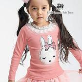 兔子圖案蕾絲領粉色長袖棉T  [K7202] RQ POLO 小女童 秋冬童裝
