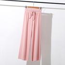 直筒褲 新款冰絲墜感闊腿褲 女高腰垂感休閒褲 寬鬆九分直筒褲