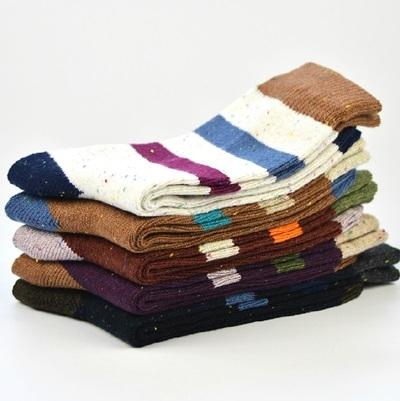 長襪禮盒(5雙裝)-純棉粗毛線時尚撞色條紋男士襪子套組5色72s23[時尚巴黎]