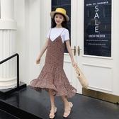 吊帶裙-雪紡優雅碎花中長版魚尾女背帶裙2色73rx45【巴黎精品】