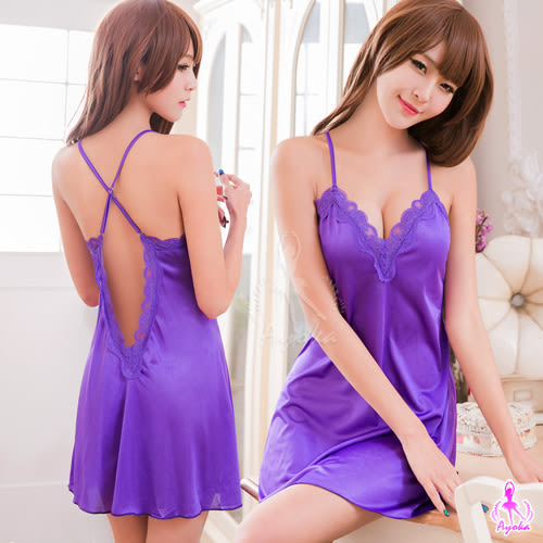 情趣用品   優雅紫色交叉美背柔緞睡衣   性感家居服