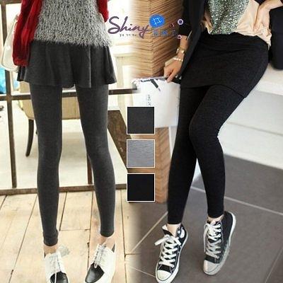 【A035】shiny藍格子-秋氛實搭‧百搭純色顯瘦假兩件裙褲