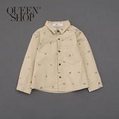 Queen Shop【01023220】童裝 親子系列露營印花襯衫 兩色售 S/M/L*現+預*
