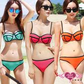 二件式泳裝 綠/桃/橘 S~L 素色亮眼兩件式鋼圈比基尼泳裝泳衣 天使甜心Angel Honey
