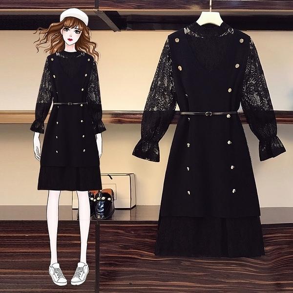 套裝兩件式 大碼女裝L-4XL胖mm秋冬洋氣針織馬甲蕾絲連衣裙遮肚子減齡兩件套裝3F060.9106 胖丫