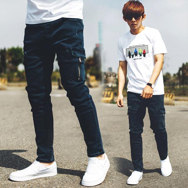牛仔褲 韓國製拉鍊造型側口袋深藍合身牛仔褲【NB0747J】