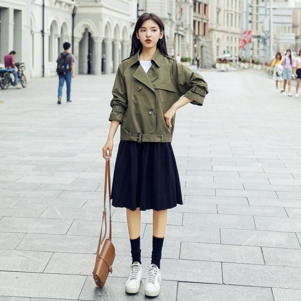 新品短外套女春秋正韓學生bf原宿寬鬆百搭卡其色風衣短款秋季jy