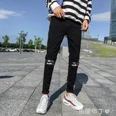 超火的男生黑色牛仔褲男修身小腳韓版潮流加絨加厚秋冬款褲子 焦糖布丁